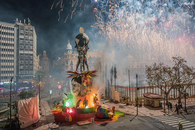 OKUDA Sculpture Engulfed in Flames for Falles Festival in València