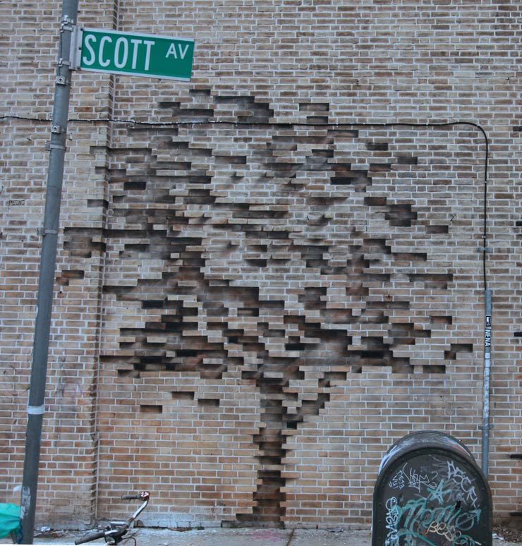 Pejac: An Illusionary Tree Grows from the Bricks In Brooklyn
