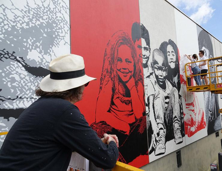 Jef Aérosol Creates Huge Fresco in Paris Sud for Wall Street Art Festival