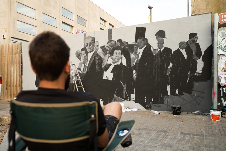 "Alberto Montes, Catalonia on Oct 1 Anniversary of Vote to Secede – New Mural ""Politics of Lucidity"""