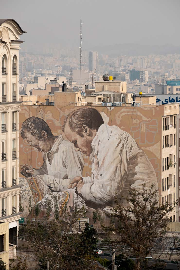 "Fintan Magee & Guido Van Helten in Tehran : ""The Carpet Repairmen"""