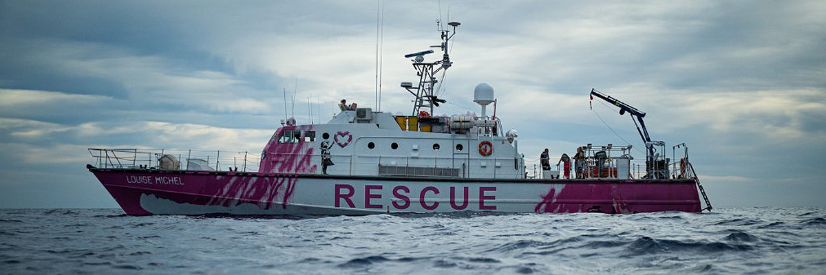 "Banksy's ""M.V. Louise Michel"" at Sea Rescuing and Raising Awareness"