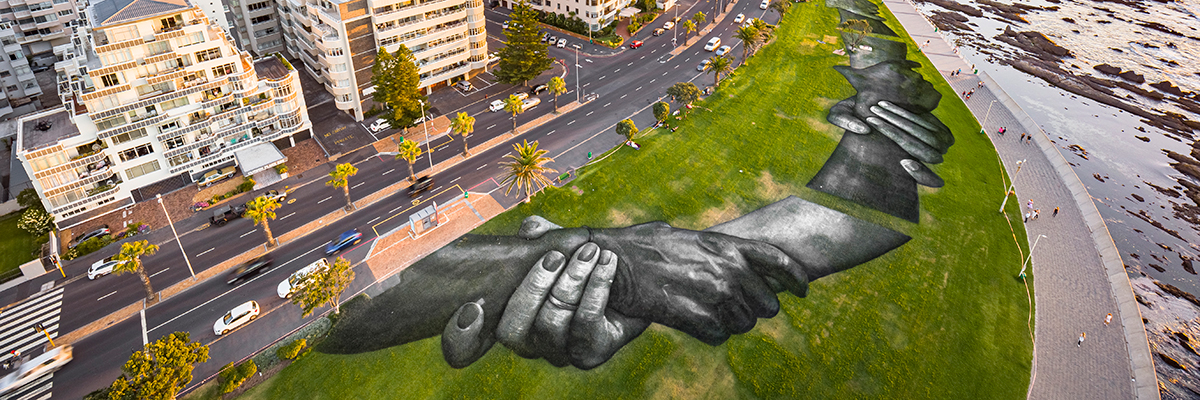 "Saype in Cape Town, South Africa with ""Beyond Walls"""