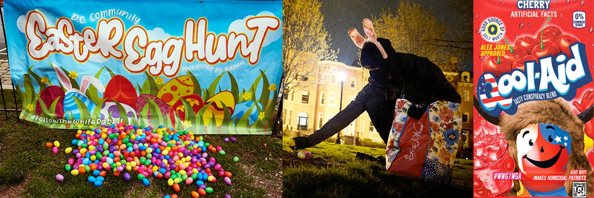 INDECLINE Creates QAnon Easter Egg Hunts in DC Parks for a Surreal Holiday Prank