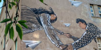 Alice Pasquini And UNO Create Mural for Equality of Men & Women, and Respect in Rome