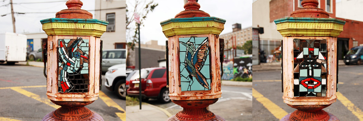 Emergency Mosaics on Poised Street Furniture, Street Art Networked by NYC History