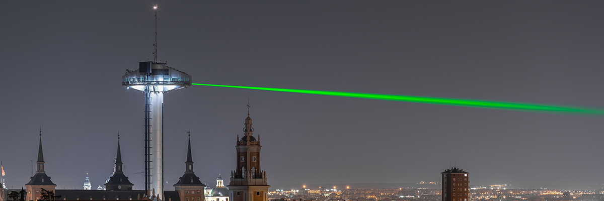 SpY Lights Up Madrid with Green Lasers