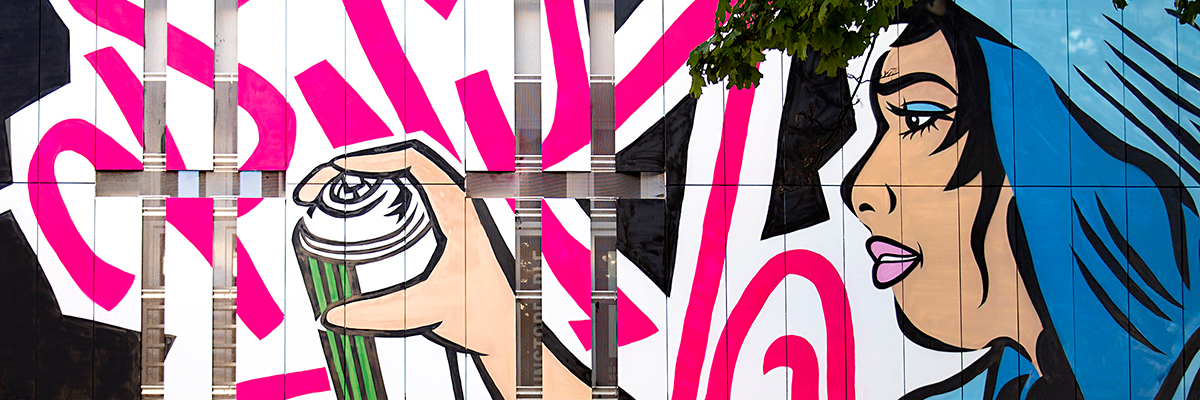 """LADY AIKO Does Her """"Martha Cooper Remix"""" on the Façade of Urban Nation (UN)"""